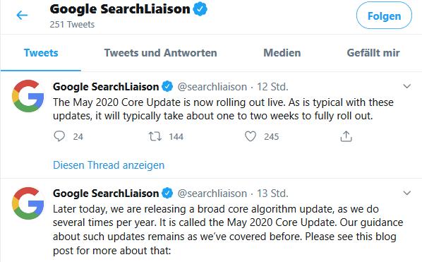 Google Core Update Mai 2020 Twitter Meldung